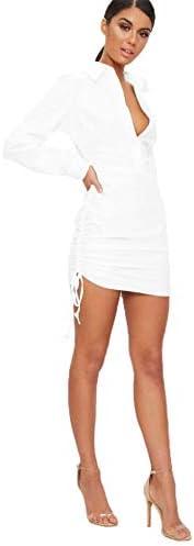 Women s Button Down Shirt Dress Long Sleeve Blouse Drawstring Pencil Skirt Business Office Dress product image