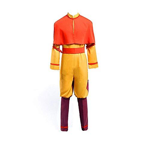 Qingge Avatar - Le Dernier Maître de l'air Aang Costume Halloween Cosplay Adulte Hommes Chemise Pantalon Châle Ensemble