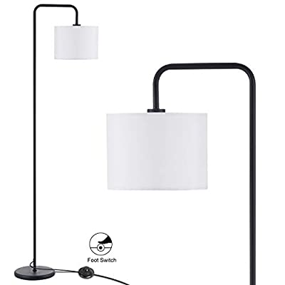 Innqoo LED Floor Lamp with Hanging Lamp Shade, Modern Standing Lamp with Foot Switch, Simple Basic Floor Lamp for Living Room, Bedroom(Without Bulb)