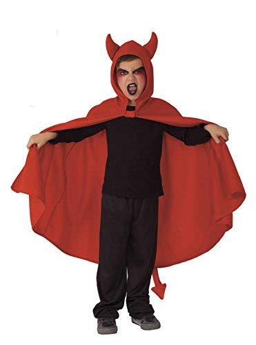 Rubie's Rubies–S5204–Cape für Kinder–Kleiner Teufel–Effekt Velours–Einheitsgröße