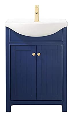 "LUCA Kitchen & Bath LC24HBP Carson 24"" Bathroom Vanity Set in Midnight Blue with Integrated Porcelain Top"
