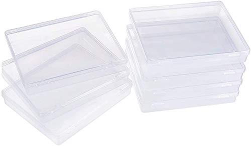6 PAQUETE RECTÁNGULO CORRE DE PLÁSTICO DE PLÁSTICO DE ALMACENAMIENTO DE ALMACENAMIENTO Caja de recipientes Caja con tapas de flip-up para artículos pequeños, píldoras, hierbas, perla diminuta, hallazg