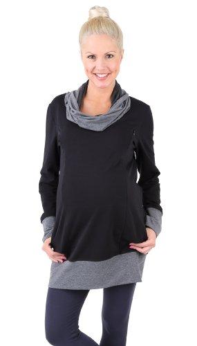 Be! Mama - 2in1 Umstandspullover, Sweatshirt, Still-Pulli, hochwertige Baumwolle, Modell: Nella, schwarz, Größe XS