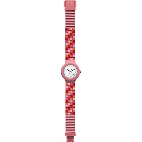 Orologio HIP HOP donna MOSAIC quadrante bianco e cinturino in silicone rosa, movimento SOLO TEMPO - 3H QUARZO