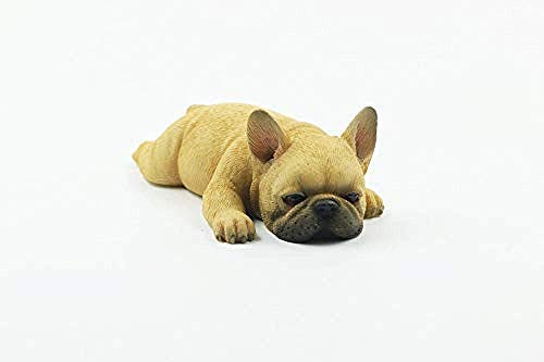 WSIMEI Ornaments Statues Sculptures French Bulldog Meng Sleep Small Law Simulation Animal Dog Model Sleeping Posture Method Cattle Car Decoration Red Cow Color