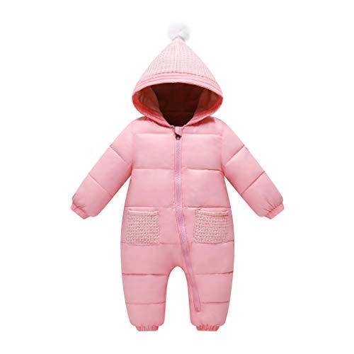 Vine Bebé Mono Niños Niñas Traje de Nieve Invierno Mameluco con Capucha Espesar Peleles Calentito Enterizo Conjunto de Ropa, 6-12 Meses