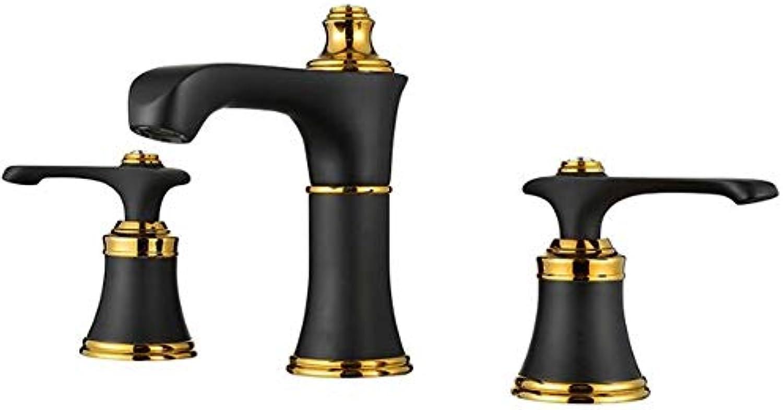 Wasserhahn aus kupferfarbenem europischem antikem SchwarzGold-Dreikrper mit heiem und kaltem Wasserhahn Waschbecken mit drei Lchern und geteiltem Wasserhahn