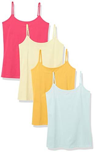 Amazon Essentials Camisola de 4 Paquetes tank-top-and-cami-shirts, Rosa, mandarina, amarillo, azul claro, US M (EU M - L)