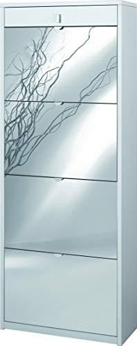 Scarpiera con specchio naturale 4 ante a ribalta e 1 Cassetto H164 L63 P29 Cm colore Bianco Fiammato Sk568spk