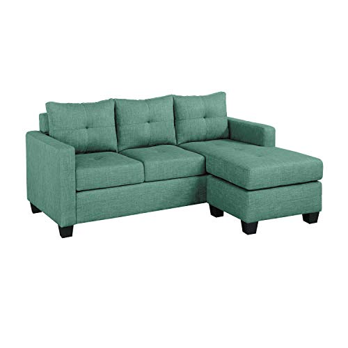 Homelegance Phelps 78' x 58' Fabric Reversible Chaise Sofa, Teal