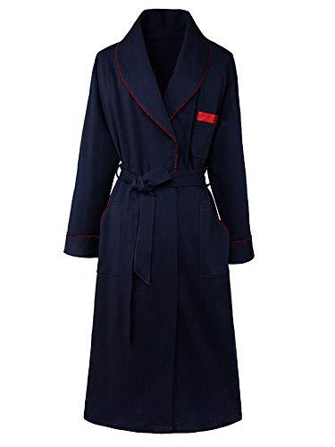 HXGpajamas Albornoz De Toalla 100% Algodón para Mujer Pijama Absorbente Bata De Baño Sexy Diseño De Tubería Decorativa Vestido De Noche De Casa Azul Marino Comodidad (Size : Medium)