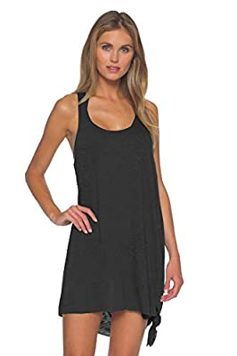 Becca by Rebecca Virtue Women's Scoop Neck Tie Side Pullover Dress Swim Cover Up Black M/L