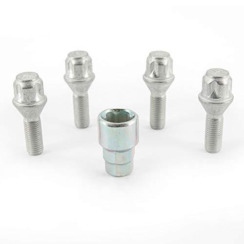 H&R 1252801KEY4 Set M12x1.50x28mm Kegelbund-4 Felgenschloss-Schrauben inkl. Adapter