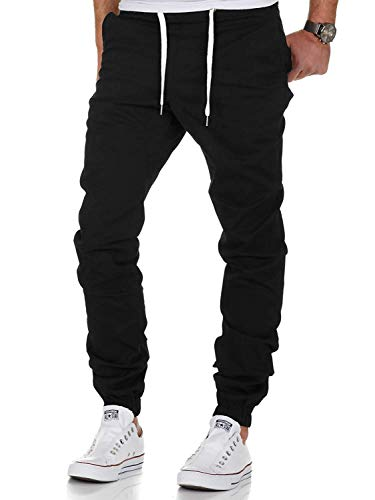 AitosuLa Herren Jogginghose Baumwolle Freizeithose Sport Slim Fit Trainingshose Sweatpants Jogger Pant (Schwarz, Medium)