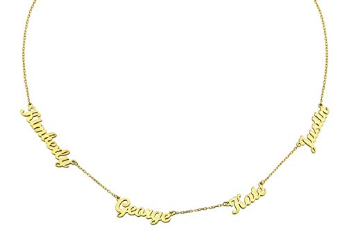 Namenskette Choker Kette mit Gravur 2/3/4 Kinder Namen Familiennamen Anhänger Personalisiert Mutter Halskette für Mama Oma Damen 925 Sterling Silber Gold Rosegold