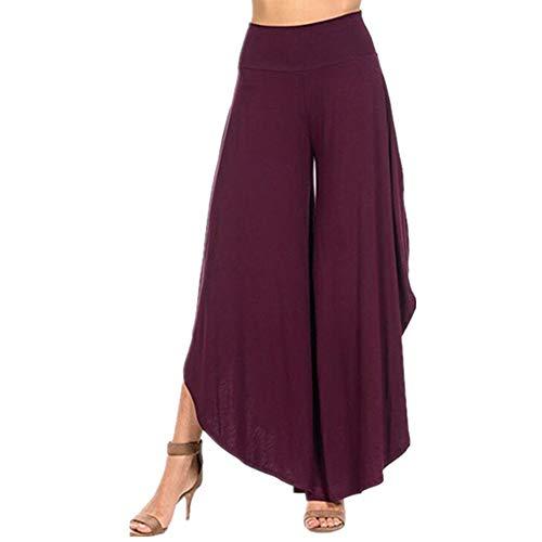 PPPPA Herbst neun Punkte Damen unregelmäßig Bequeme Hose mit weitem Bein einfarbige Freizeithose hohe Taille unregelmäßige Yogahose mit weitem Bein ausgestellte Hose Loser Hosenrock