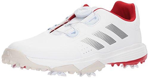 adidas Unisex-Kids Jr. Adipower Boa Golf Shoe, FTWR White/Silver met./Scarlet, 4.5 Medium US Little Kid