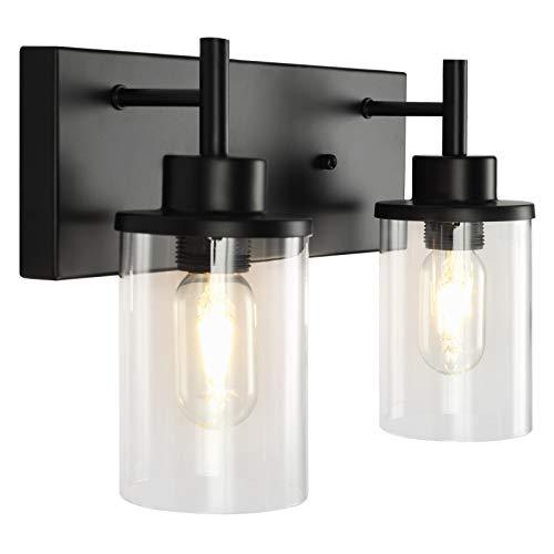 GOODYI Apliques vintage industriales negros de 2 luces, lámpara de granja, luces de tocador de baño, lámpara de pasillo, apliques,...