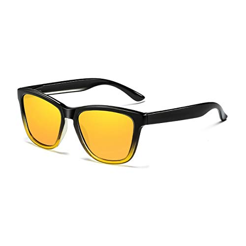 Skevic Polarisierte Sonnenbrille Herren und Damen - Fahrradbrille mit UV400 Schutz, Radbrille Sportbrille für Autofahren Running Skifahren Fischen Radfahren Wandern Golf (Schwarz/Gelb)