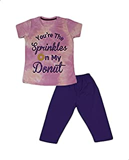 Jockey Letter Print Short Sleeves Crew Neck T-shirt with Pants Pajama Set for Girls - Purple and Navy