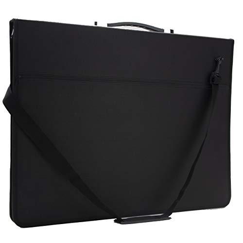 A2 Artist Portfolio Case - Art Presentation Storage Bag - Weather Resistant Supply Case Portfolios with Shoulder Strap for Students & Professional Artists (A2 24.4'x17.7'x1.7', Black)