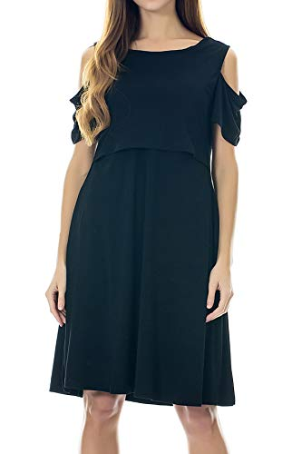 Smallshow Maternity Nursing Dress Cold Shoulder Breastfeeding Dresses for Women Medium Black