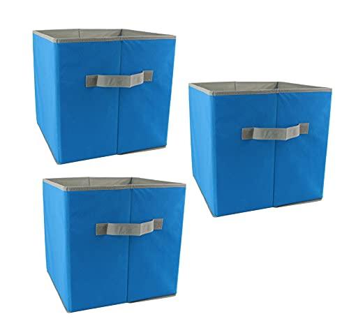 Set di 3 scatole portaoggetti in tessuto pieghevoli, scatole organizer per cassetti per vestiti, giocattoli, dimensioni: 30 x 30 x 30 cm, mod. OR4006 (blu)
