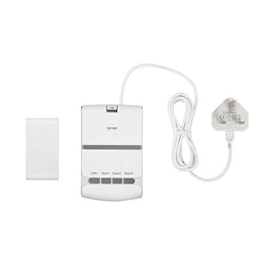 Commande intelligente WiFi pour porte de garage - Interrupteur de porte enroulable - Télécommande par application - Minuterie - Compatible avec Alexa Google Home (prise britannique)
