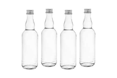 Casavetro Clear Screw Top Botellas de vidrio vacías 100 ml - Tapas giratorias recargables reutilizables - Tapa de metal ajustada al aire para Kombucha Home Brewing Gin Aceite Vinagre (20 x 100 ml)