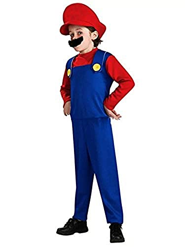 lego super mario halloween thematys Super Mario Luigi Cappello + Pantaloni + Barba - Costume per Bambini - Perfetto per Carnevale e Cosplay (Small