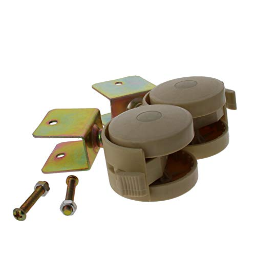 MroMax 1.85 Inch Swivel Caster Wheels U-Bracket Furniture Caster Wheel with Brake, 2pcs