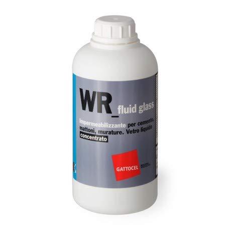GATTOCEL WR-fliud glass impermeabilizzante per cemento, mattoni, murature. Vetro liquido concentrato 0.75lt