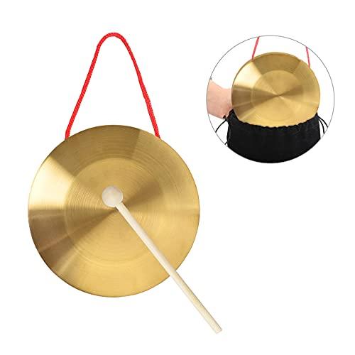 LAMEK 15 cm Hand Gong Messing Handgong Kupfer Opera Percussion mit Runden Hammer Musik Intelligenz Spielzeug Instrument für Kinder Kapelle Schule Musikunterricht