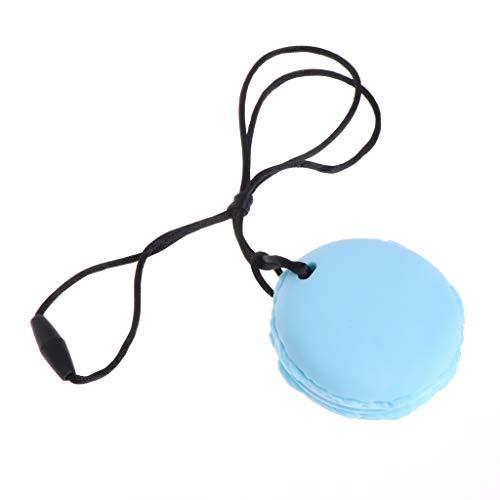 FATTERYU Baby silikon beißring Kette Charme makronenform Halskette kinderkrankheiten Spielzeug schmuck blau