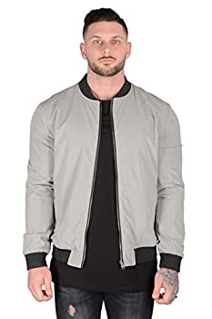 YoungLA Bomber Jackets Men | Lightweight Casual Reversible | Regular Fit Fashionable Outerwear | 506 Grey M