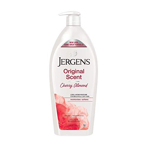 Jergens Original Scent Dry Skin Moisturizer, 32 Ounce Body Lotion, with Hydralucence blend and Cherry Almond Essence, for Long Lasting Skin Hydration