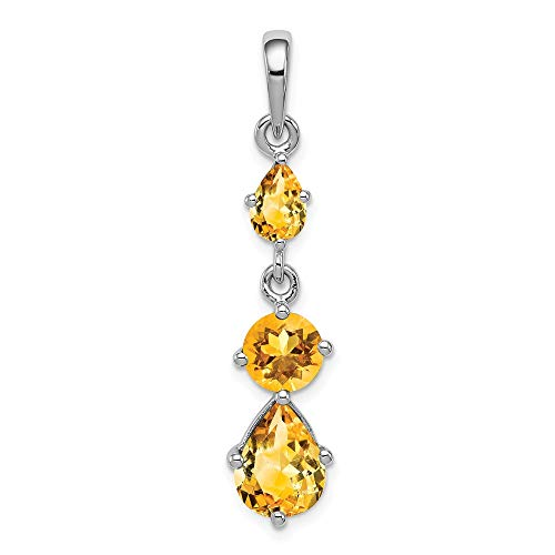 925 Sterling Silver Yellow Citrine Pendant Charm Necklace Gemstone Fine Jewelry For Women Gifts For Her