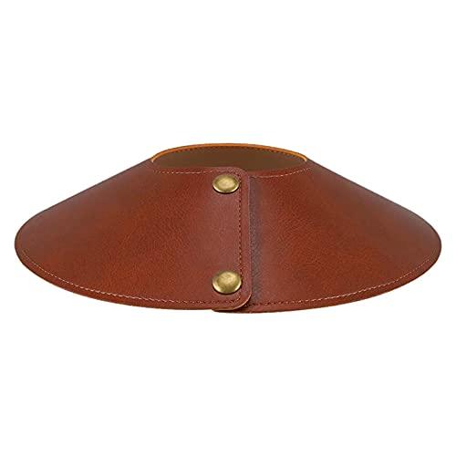 Hearthxy Pantalla de lámpara redonda de pie lámpara de mesa lámpara de techo vintage de cuero negro marrón pantalla cónica pantalla de repuesto para todos los interiores lámpara LED
