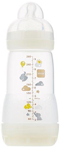 MAM nr GFC1A3AL001.AAB - 1x butelka fizjologicznych silikonów antykolkowych, 260 ml/niebieski (0 m+)
