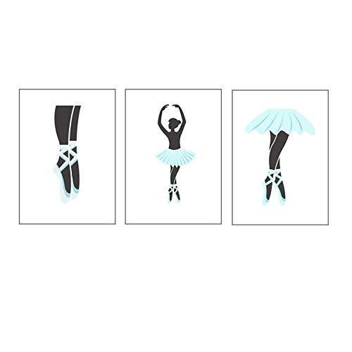 AdoDecor Póster de Pintura en Lienzo para niñas, póster de Zapatillas de Ballet, Hermosas Pinturas, Arte de Pared, Impresiones en Lienzo, Imagen de Dibujos Animados 42x62cmx3 sin Marco