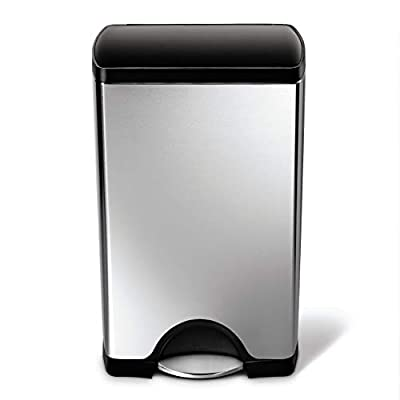 simplehuman Cw1950 Kitchen Trash Can, 10 Gallon, Brushed Stainless Steel w/Black Plastic lid (Renewed)