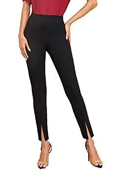 SweatyRocks Women s Elegant Elastic Waist Skinny High Waist Pants Black L