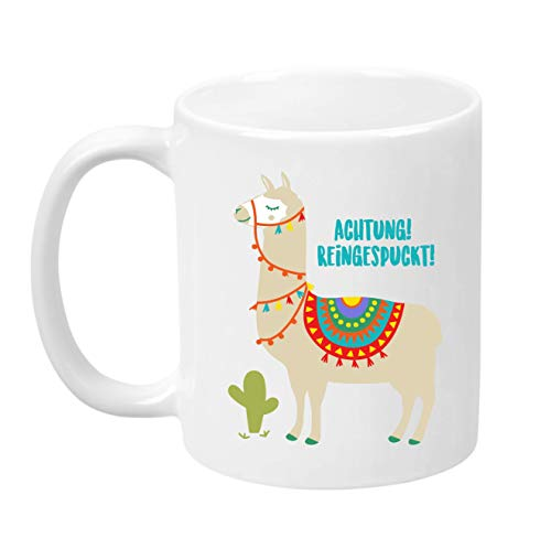 TassenTicker - Achtung reingespuckt - Kaffee/Tee/Becher/lustig/Arbeit/Büro/Kollegen/Chef/Geschenk/Alpaka/Lama - Hochwertige Qualität - beidseitig Bedruckt