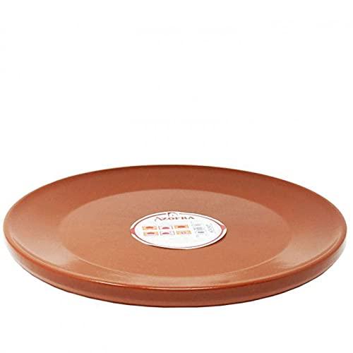 Azofra - Plato llano de barro refractario de 32 cm de diámetro. Fuente, bandeja apta para cocinar y mantener el calor de las car