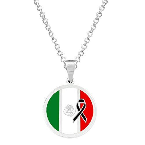Yo Me Quedé en Casa Colgante Plata Bandera México Crespón Negro 18mm   Colgante Hombre Plata   Colgante Plata Mujer   Collar Personalizado  Bandera de México   Regalo Original (Plata Brillo, 45)