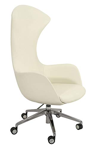 Sigma Bürostuhl/Chefsessel Mega mit Kurven auf Leder in gebrochenem Weiß oder Schwarz