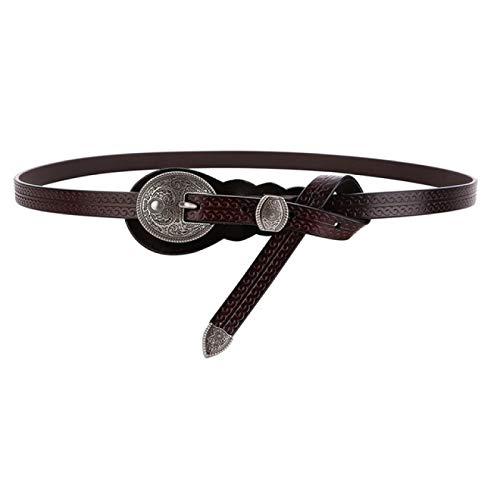 SENFEISM Cinturón de Mujer Cinturones Vintage para Mujer Cinturón de Piel de Vaca Cinturón de Cuero Real Remache marrón Cinturón de Mujer de Marca