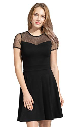 Sylvestidoso Women's A-Line Pleated Short Sleeve Little Cocktail Party Dress with Mesh (XL, Black)