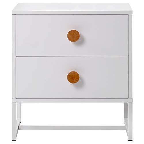 Mesita de noche de 2 capas con cajones simple armario blanco adecuado para dormitorio, pasillo, sala de estar, comedor, dimensiones totales 48 x 39,5 x 52 cm.