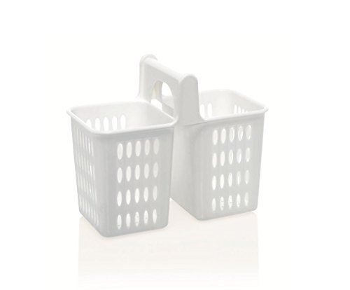 Kerafactum® - Besteckkorb Spülkorb Korb für Bestecke und Kleinteile Spülmaschine Spülmaschinenkorb universal Besteckköcher Besteckbecher eckig weiß 2 Fächer grobmaschig - cutlery basket
